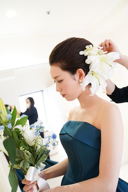 ウェディングヘアメイク エレガント アップスタイル ヘッドドレス お色直し