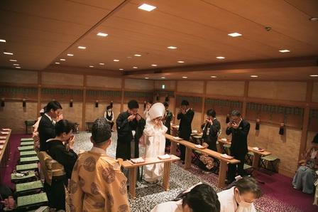 コロナ対策 家族婚 神前式 出雲大社 白無垢 綿帽子