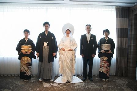 コロナ対策 家族婚 神前式 出雲大社 白無垢 綿帽子 立礼