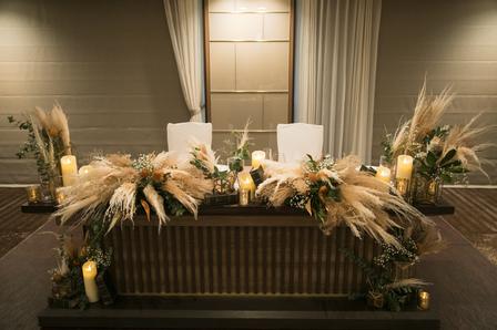 秋ウェディング、パンパス、パンパスグラス、メインテーブル