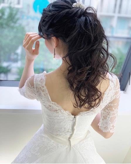 花嫁ヘアスタイル、花嫁ヘア ポニーテール
